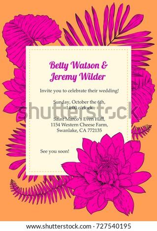 Vector Editable Wedding Invitation Card Template Stock Vector