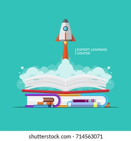 vector education book intelligent, expert learning concept, rocket launch successful