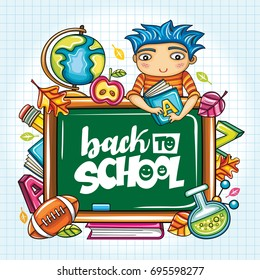 Vector education design with cartoon elements. Green blackboard, schoolboy holding books, football, leaves, back to school lettering, globe, and chemical vial. Banner for socail network, seasonal sale