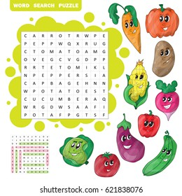 Vector education game for children about vegetables. Word search puzzle