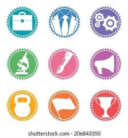 Vector education icon set in colored badges
