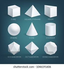 Vector education illustration of cube, prism, cylinder, cone, sphere, pyramid or tetrahedron and octahedron, icosahedron, dodecahedron. Set of realistic white basic 3d shapes. Geometry forms isolated