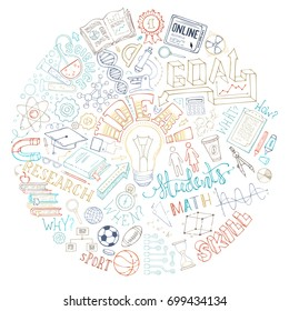 Vector education and science background. Doodles university / high school elements and symbols on white background. Laptop, documents, gadgets, office stationery and science lab equipment.