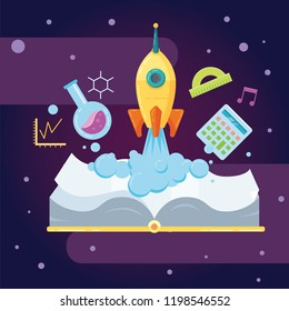 Vector education study concept with flying rocket. Startup online education, school elements isolated on space background