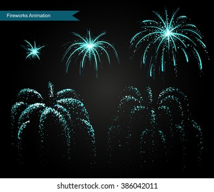 Vector effect. Effect for game. Explode effect animation. Cartoon explosion frames Fireworks vector