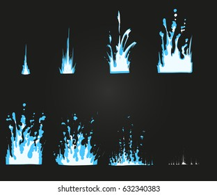 Vector effect. Effect for game. Explode effect animation. Cartoon explosion frames.