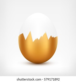 Vector egg with broken golden shell on white background