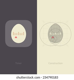 Vector Egg Timer Application Icon with Gird Construction.  Flat Design Style.