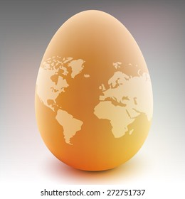 vector egg with world map