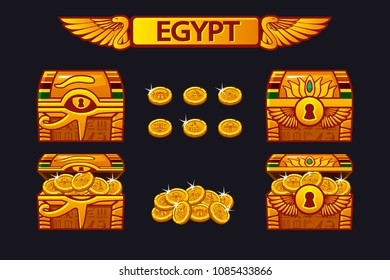 Vector Egypt antique treasure chest and golden coins