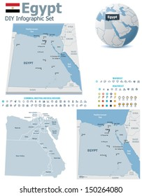 Vector Egypt political and administrative divisions maps, Egypt flag, Earth globe showing country location, map markers and related icon set