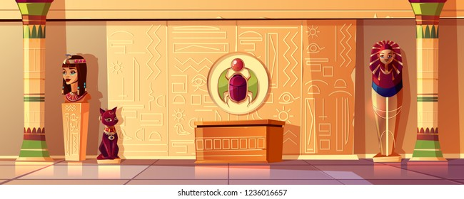 Vector Egyptian cartoon background. Tomb interior - bust of queen, pharaoh sarcophagus, ancient pillar and other symbols of culture. Bastet sculpture, hieroglyphs on wall and scarab. Pyramid inside.