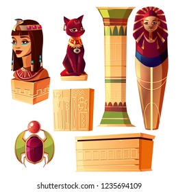 Vector Egyptian cartoon set - bust of queen, pharaoh sarcophagus, ancient pillar and other symbols of culture. Collection of tomb, objects on white background. Bastet sculpture, hieroglyphs and scarab