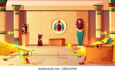 Vector Egyptian pyramid cartoon background. Tomb interior - bust of queen, pharaoh sarcophagus, ancient pillar and treasures, jewelry. Bastet sculpture, hieroglyphs on wall and scarab. Gold and gems.