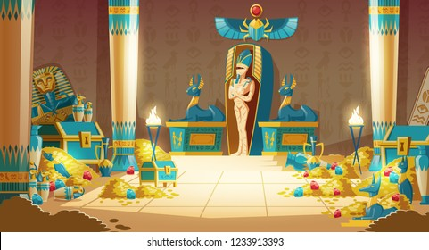 Vector Egyptian tomb - pharaoh sarcophagus with mummy, treasure and other symbols of culture. Cartoon background of ancient pyramid with gold. Anubis, Bastet sculptures, hieroglyphs and scarab.
