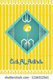 vector for eid Al Adha cover, mubarak background and cool tamplate design colaboration orange and blue color .  eps 8 vector