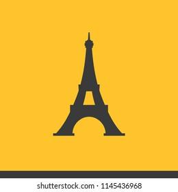 Vector eifel tower icon set grey on yellow background