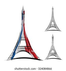 Vector eiffel tower in france on white background
