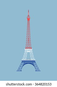 The vector Eiffel Tower with nice background light blue
