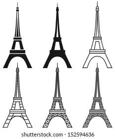 vector Eiffel Tower set