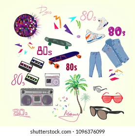 vector eighties fashion illustration attributes