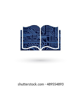 Vector e-learning concept. Circuit board electronic opened book. Education technology icon