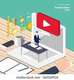 Vector e-learning concept in flat style - digital content and online webinar how to make money with video.