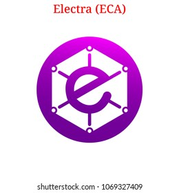 Vector Electra (ECA) digital cryptocurrency logo. Electra (ECA) icon. Vector illustration isolated on white background.