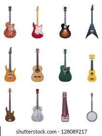 Vector electric and acoustic guitars icon set. Includes images of different guitars and related stringed music instruments
