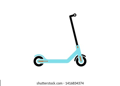 Vector electric light blue scooter icon modern flat design on white background