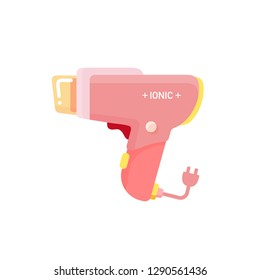 vector electric negative Ion hair dryer, ionic blowdryer with nozzle / hair drying symbol / modern design, isolated, sign and icon template