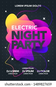 Vector electric night party poster with colorful liquid form. Abstract club flyer template with gradients fluid shapes.
