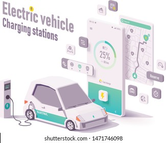 Vector electric vehicle charging stations app concept. Smartphone with car charging details, electric car battery charger stations map search