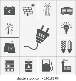 Vector Electricity and Power icon set, ecological and traditional energy sources