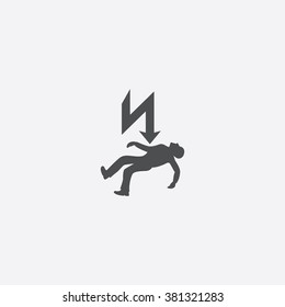 Vector electrocution risk sign Icon