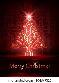 Vector electronic christmas tree