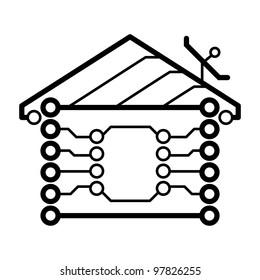 Vector electronic circuit board house logo