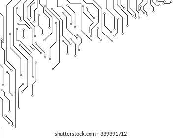 Vector, Electronic circuit border on white background