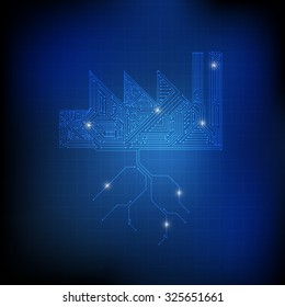Vector : Electronic circuit in factory and ground on blue technology background