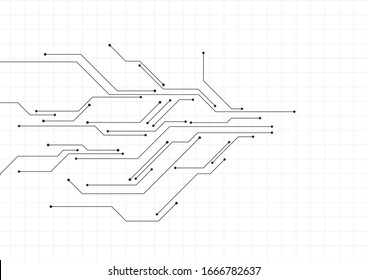 Vector : Electronic circuit with gray grid on white background