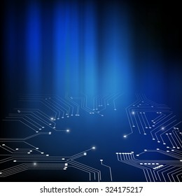 Vector : Electronic circuit on abstract blue background