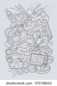Vector electronic devices on gray background