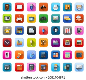 vector Electronic Icons set - computer technology symbols, mobile appliances illustration
