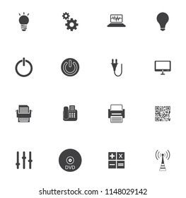 vector Electronic Icons set - computer technology symbols, mobile appliances illustration