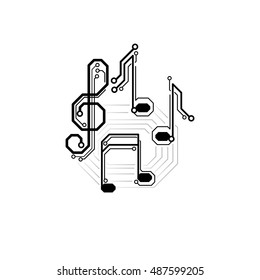 Vector electronic music sign. Circuit board musical notes and treble clef