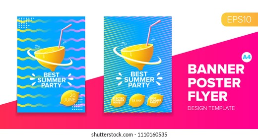 Vector electronic music summer party poster background. club party flyer or creative banner with abstract waves and fresh lemon. Hello summer party design template