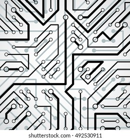 Vector electronic pattern with microchip scheme, circuit board high tech futuristic background. Digital connections.