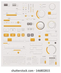 Vector electronic User interface design elements set - control switches, sliders, knobs, buttons and keyboards