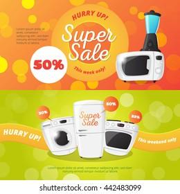 Vector electronics discount voucher templates. Bright sale banners with kitchen appliances.