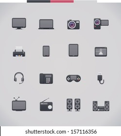 Vector electronics icon set  - tv, computer, camera, mobile, tablet, and other appliances and hardware